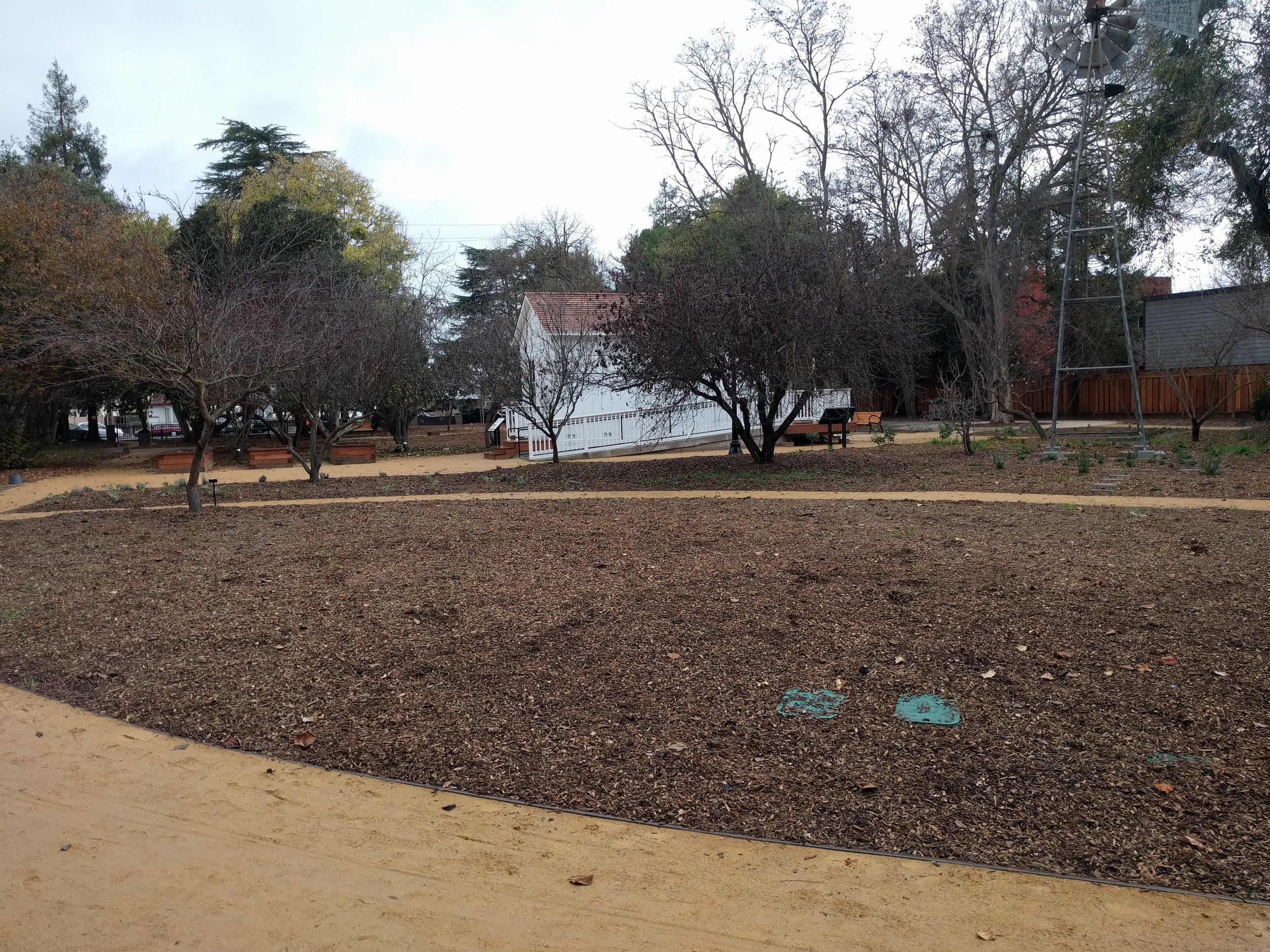 Garden space - left side; 3 garden beds next to Immigrant House are for a kitchen herb garden