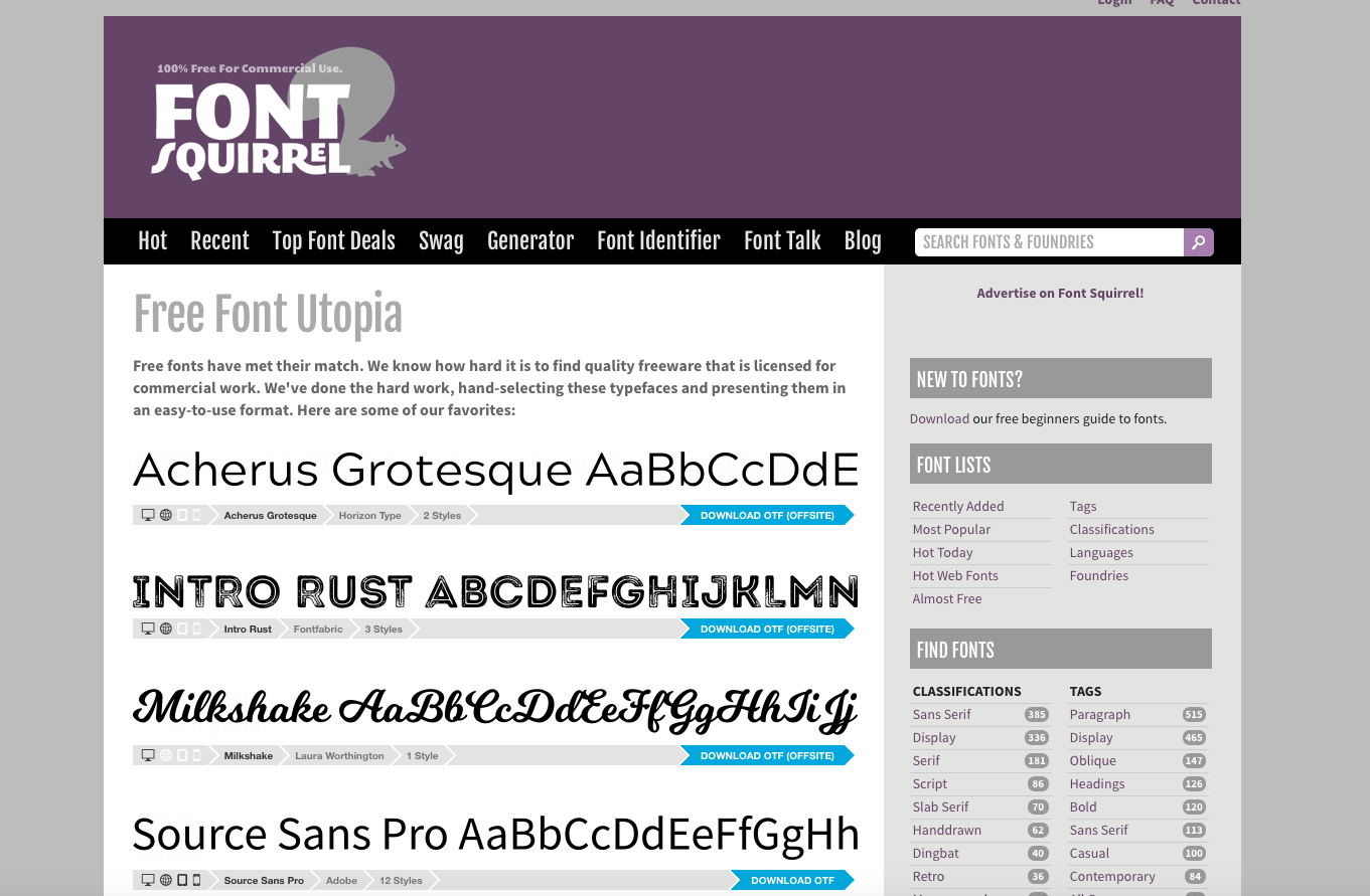 Front-page of fontsquirrel.