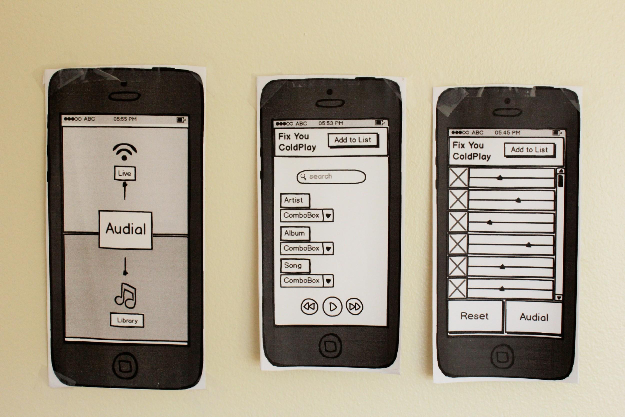 Audial - Balsamiq, Prototype printouts