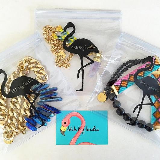 shh by sadie flamingo pouch designer statement jewellery handmade in new zealand