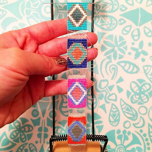 Handmade designer jewellery aztec print bracelet shh by sadie made in new zealand