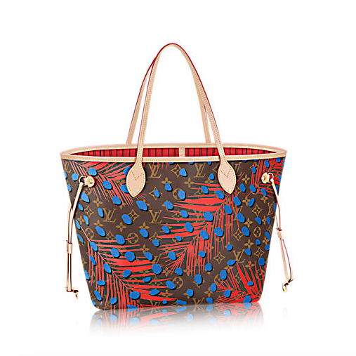 Louis vuitton neverfull palm springs collection blue every day designer handbag