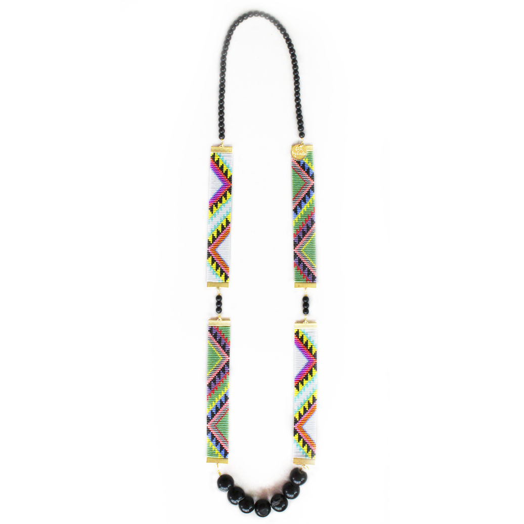 Copy of Copy of designer statement necklace handmade in new zealand aztec print