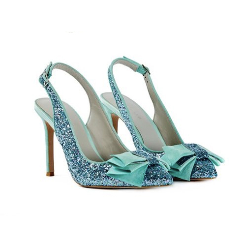 pretty blue glitter wedding shoes with bow toe