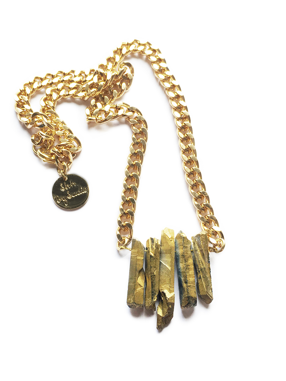 boho jewellery gold crystal necklace shh by sadie