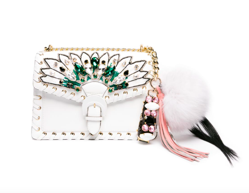 gedebe embellished white bag with fluffy bag charm
