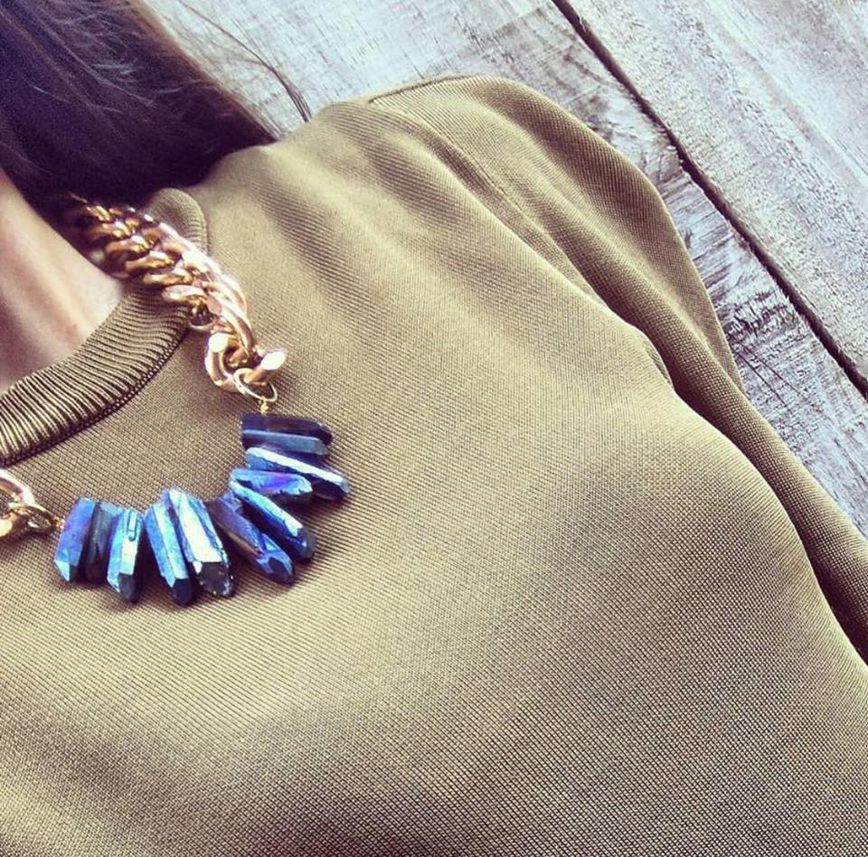 casual glam street style crystal statement necklace