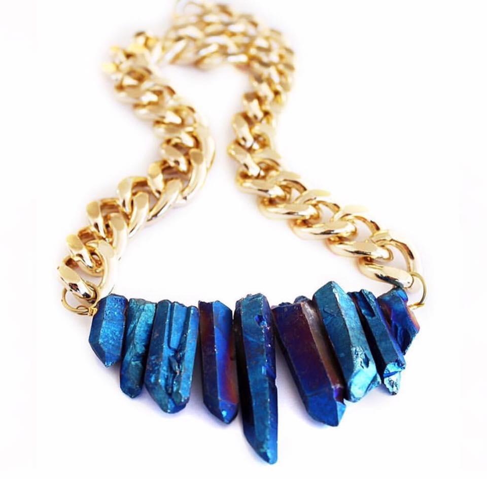 Shh by Sadie British designer statement necklace crystal quartz