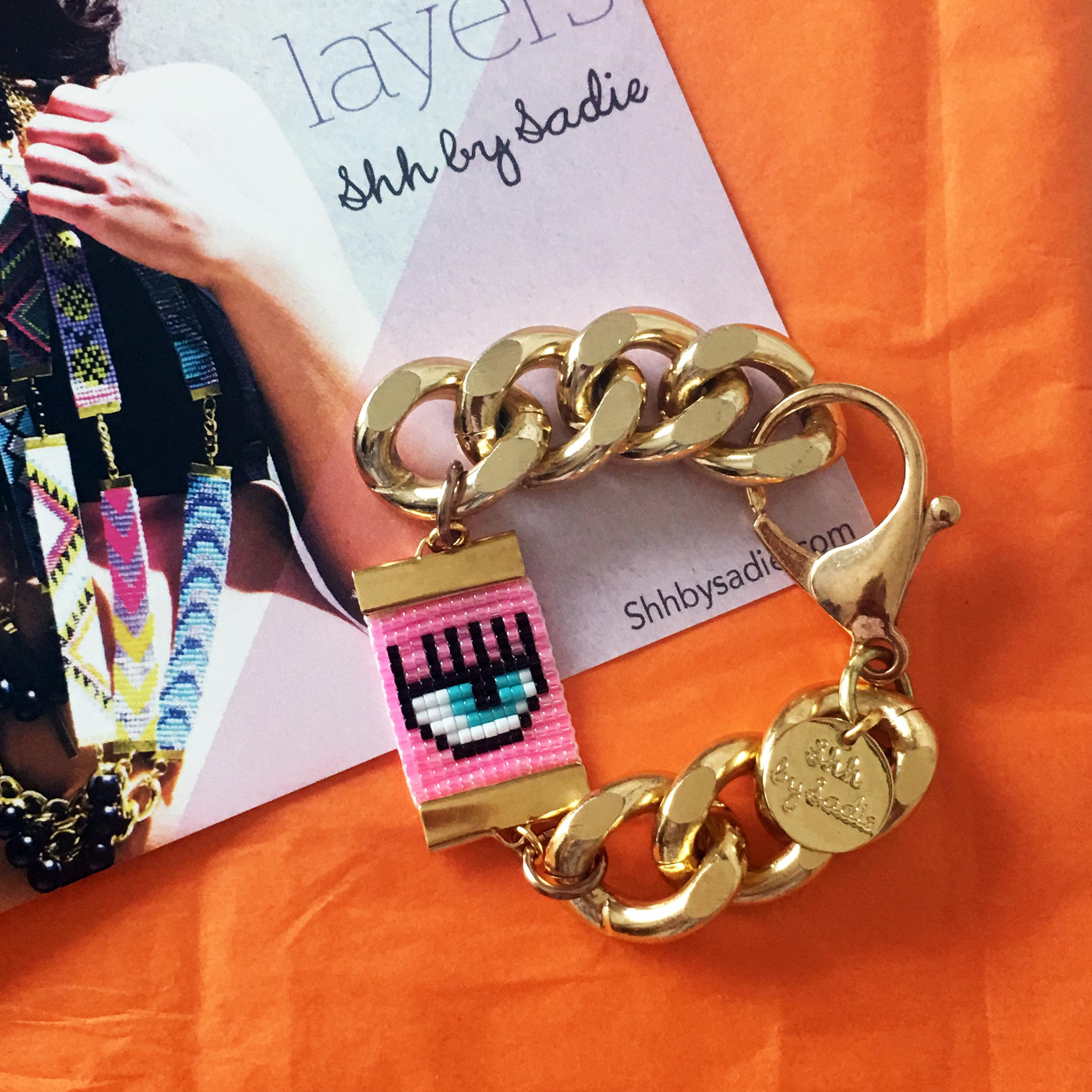 chiara ferrigni eye bracelet custom design by British jewellery designer shh by sadie