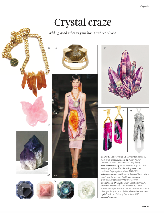 Shh by Sadie crystal necklace in New Zealand's Good magazine