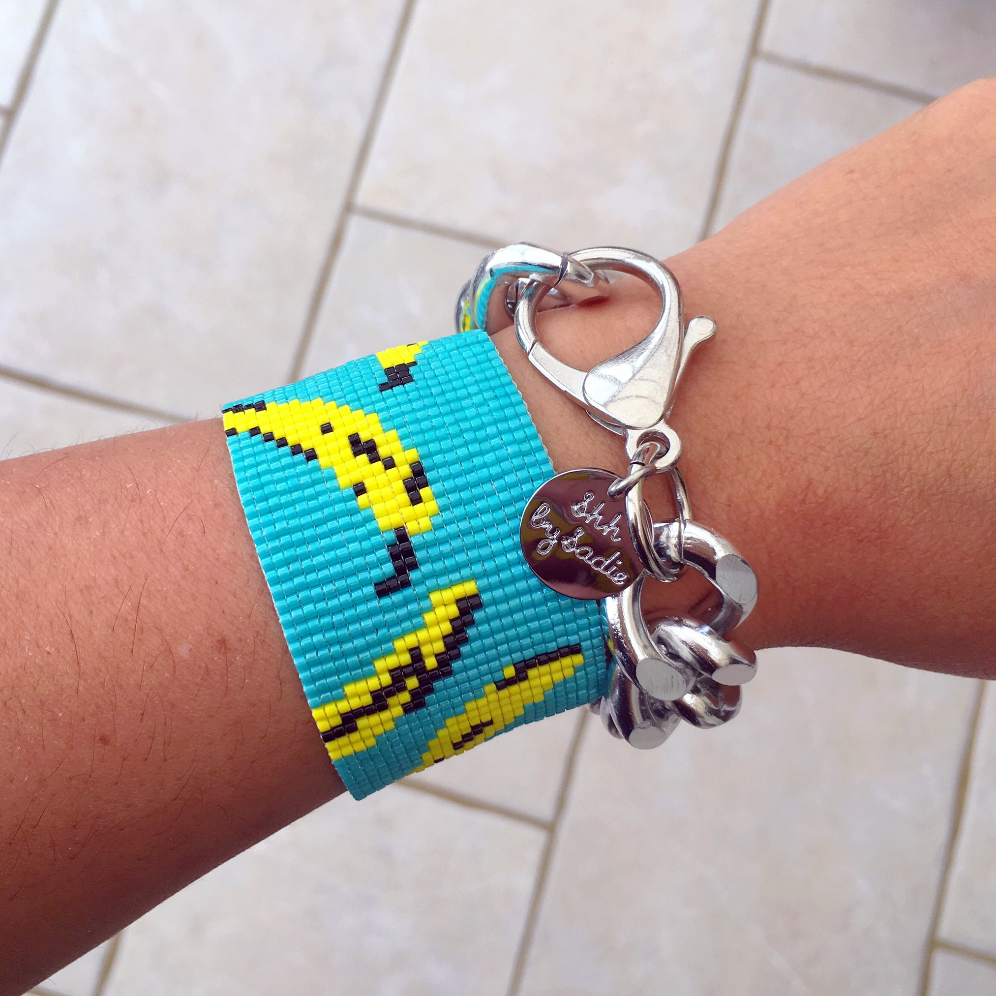 Banana print bracelet by designer jewellery Shh by Sadie resort wear