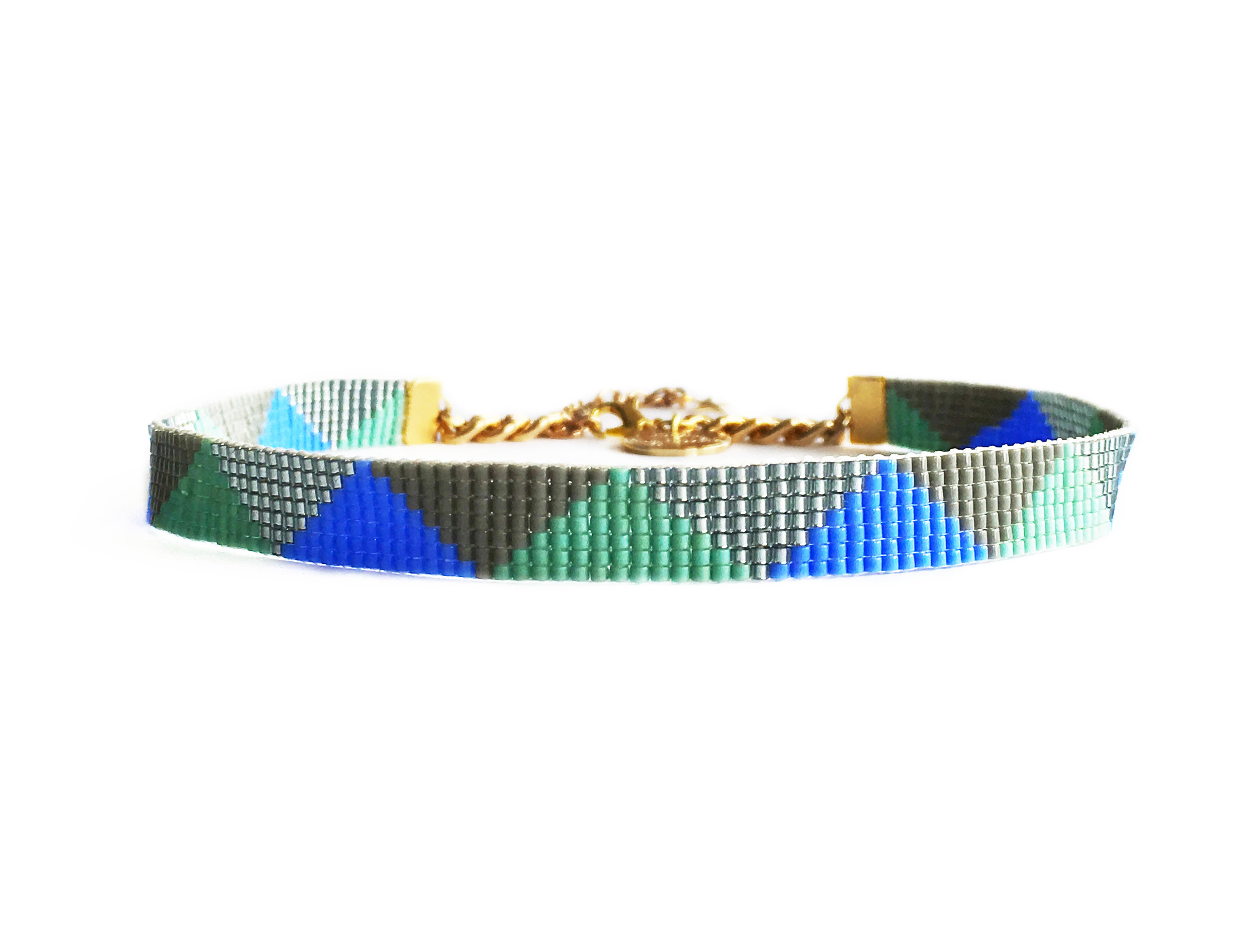 blue and green designer beaded choker shh by sadie
