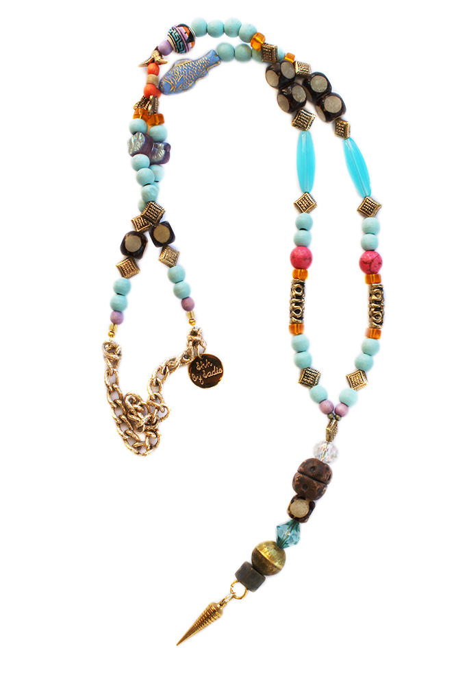 long colourful statement necklace handmade in UK