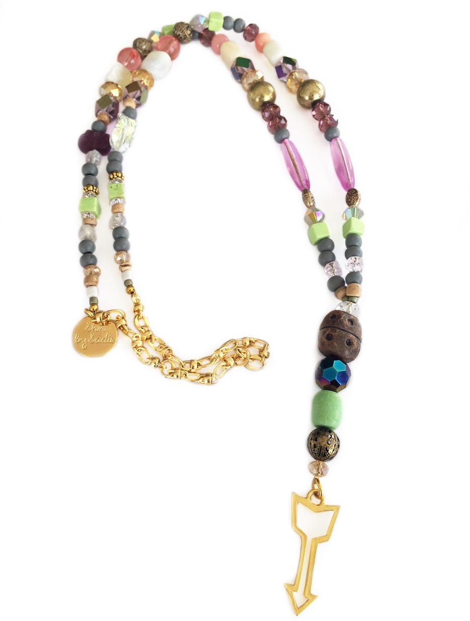 pastel statement necklace gold arrow charm