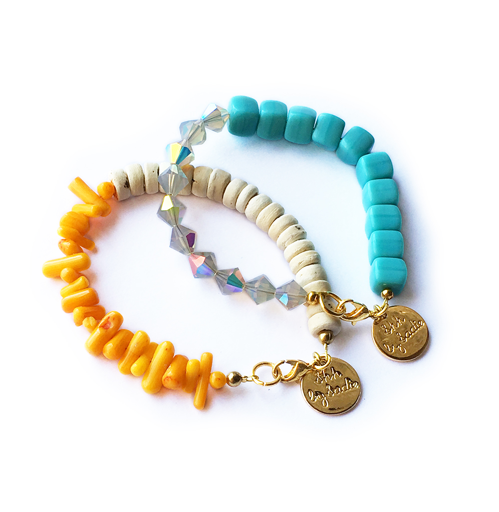 shh by sadie coral and turquoise beaded bracelets resort wear