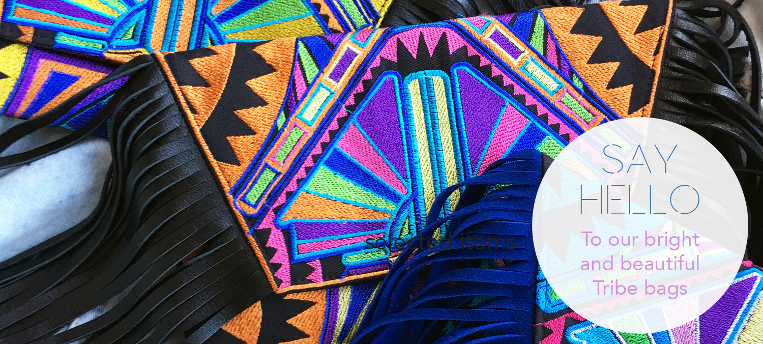 Shh by sadie tribal print leather fringe embroidered bags