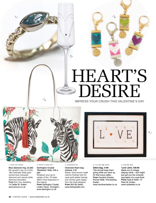 Charmed Heart bag charm featured in Valentine's Gift Guide, Exeter Living