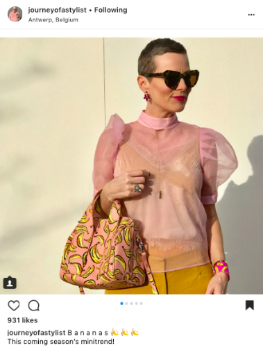 journeyofastylist fashion blogger wearing banana print trend