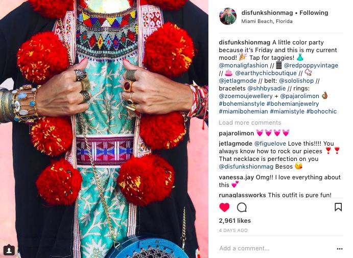 Bohemian fashion influencer Disfunkshion Magazine with Shh by Sadie beaded Twilight bracelets