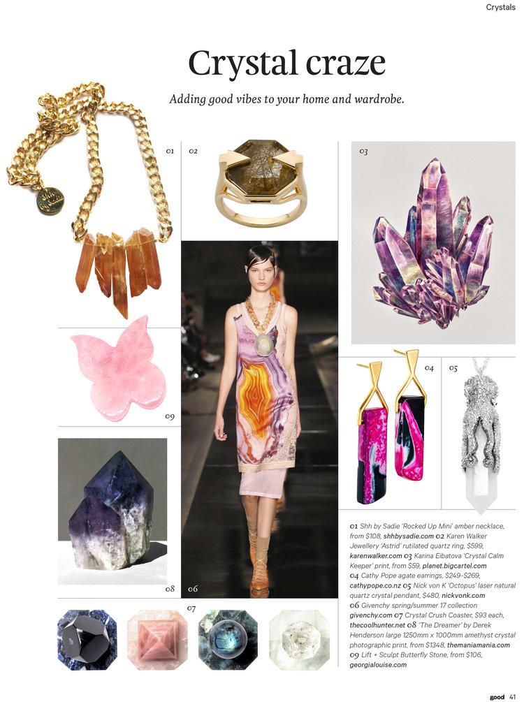 Shh by Sadie crystal quartz necklace in Good magazine