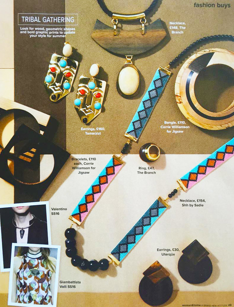 Shh by Sadie Miami Nights statement necklace in Woman and Home magazine