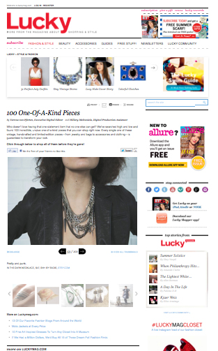 One of a kind spike statement necklace featured in Lucky Magazine