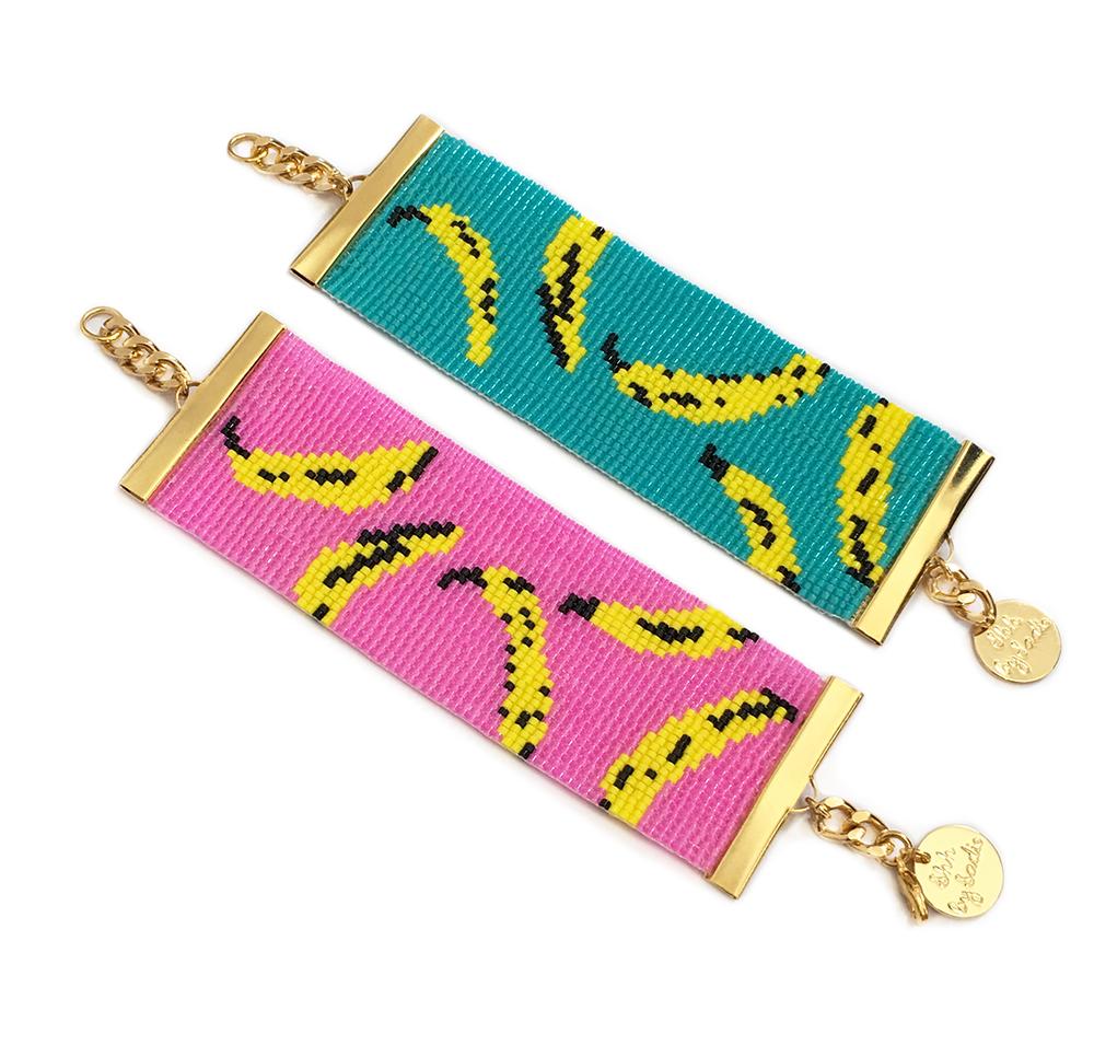 Banana print beaded bracelet by Shh by Sadie