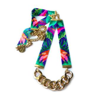 tropical print jungle print necklace