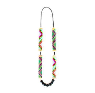 Long layering necklace tribal print resort wear festival style
