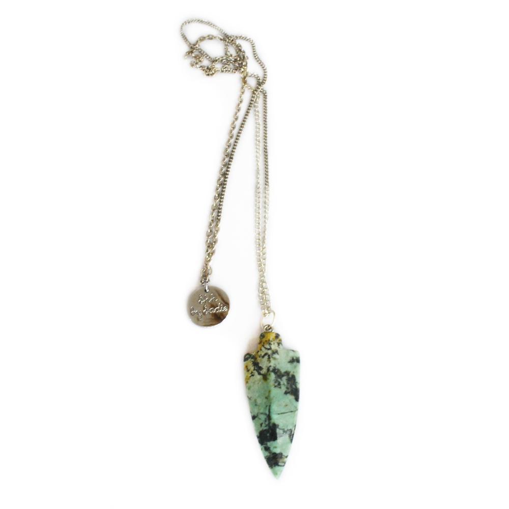 long amazonite arrow pendant festival style necklace