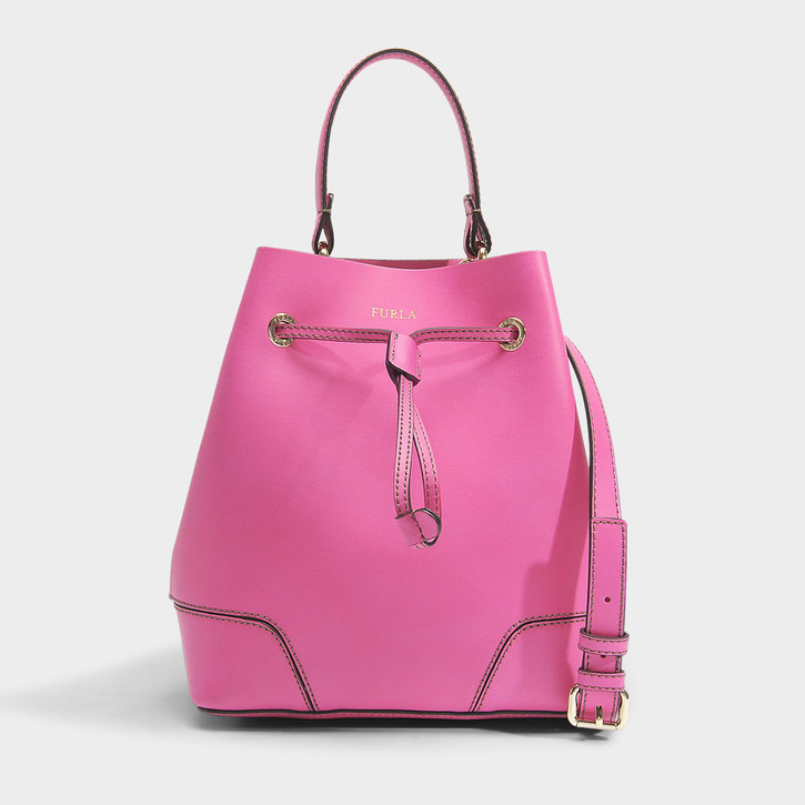 STACY SMALL DRAWSTRING BAG furla pink leather bag