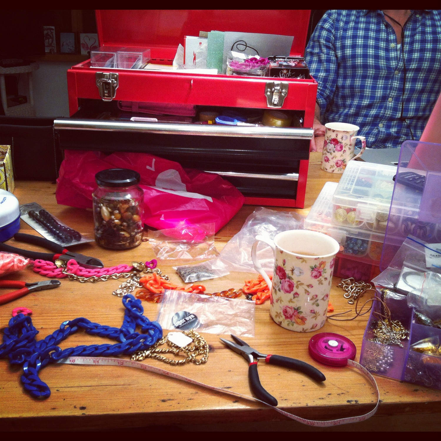 Jewellery making at the kitchen table