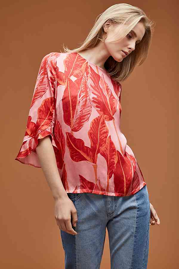 Just Female Laurie Printed palm leaf Top anthro