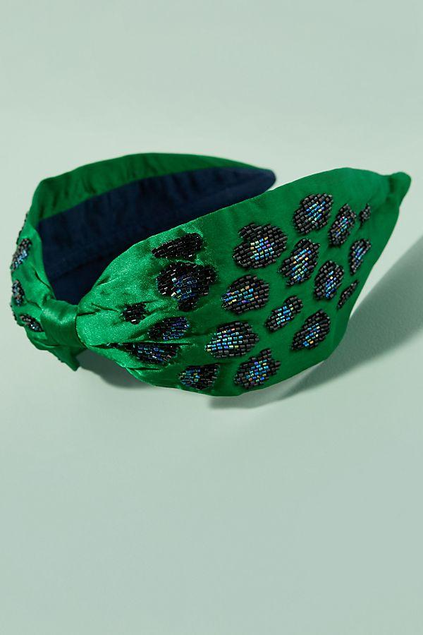 Beaded Leopard-Print Headband