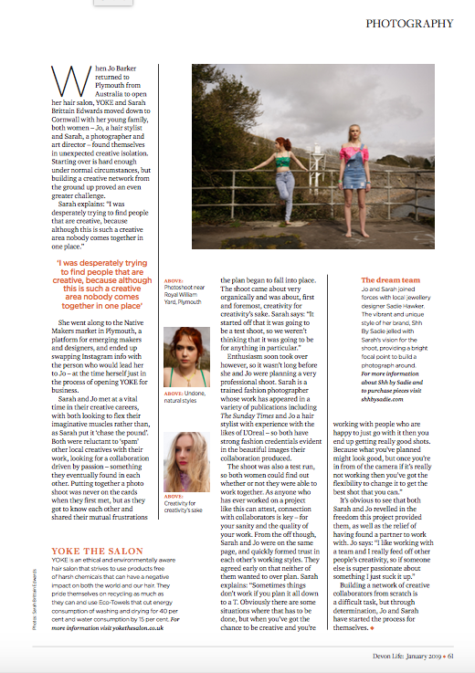Shh by Sadie featured in Devon Life magazine, Jan 2019