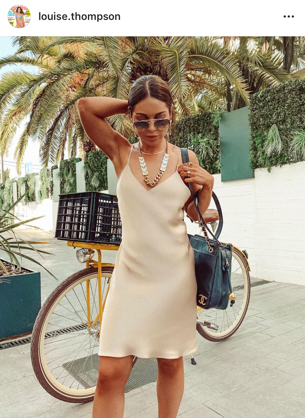 Louise Thompson wearing Shh by Sadie Pearl Chevron D'or necklace