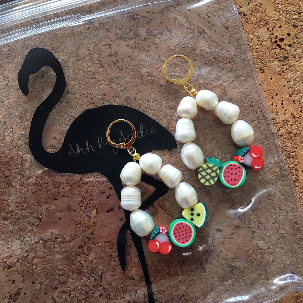 fruit pearl statement earrings