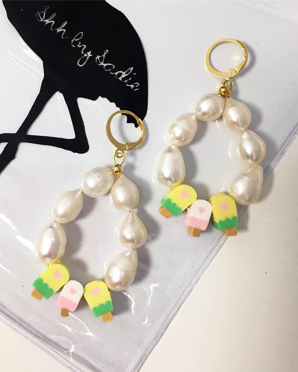 custom made pearl earrings ice cream jewellery