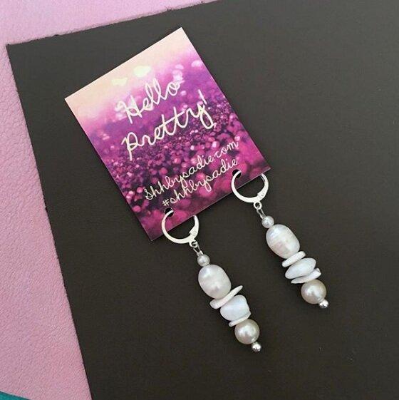 bespoke pearl drop earrings handmade in devon