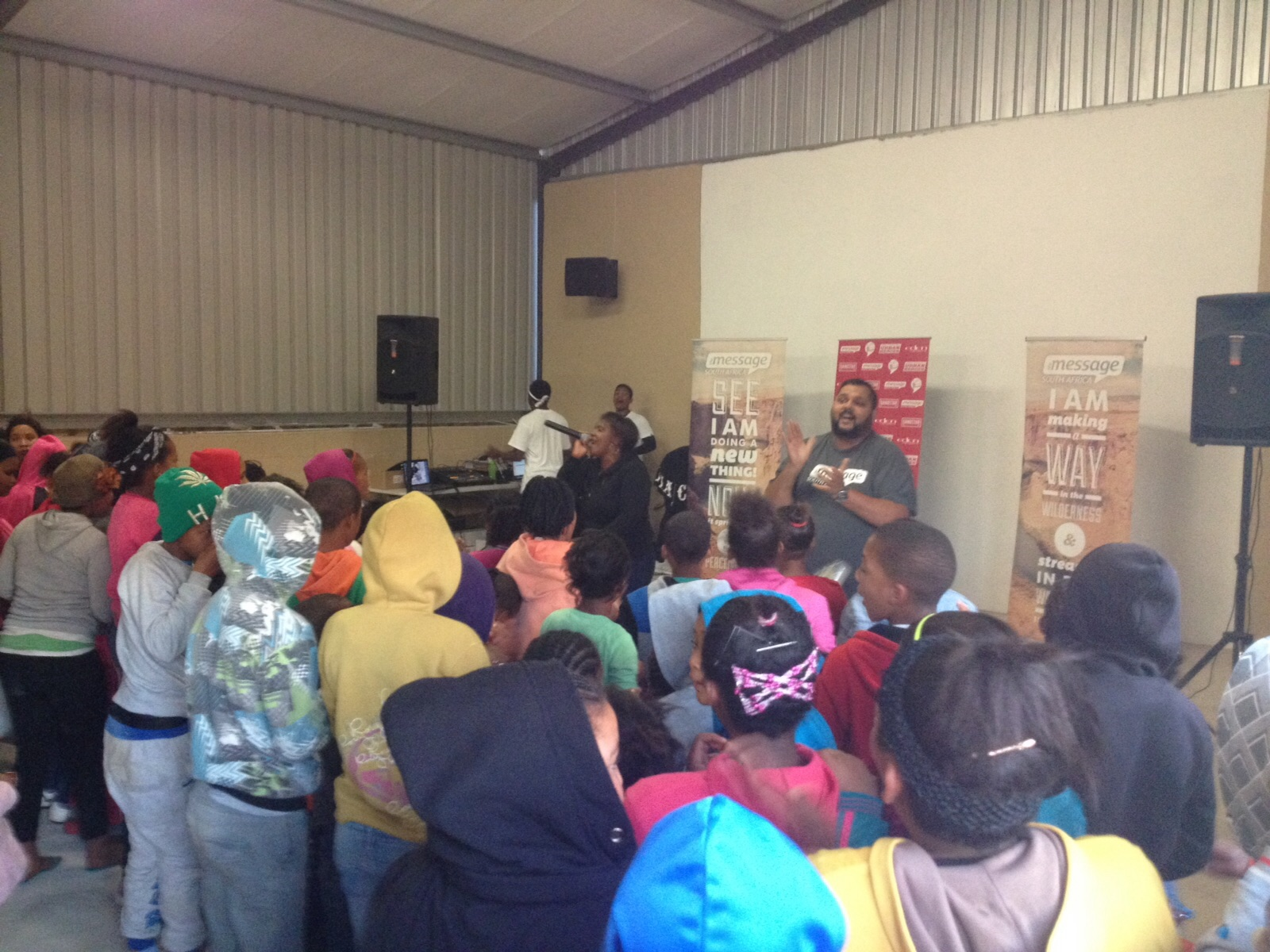 Shaun Pretorius speaking to the youth