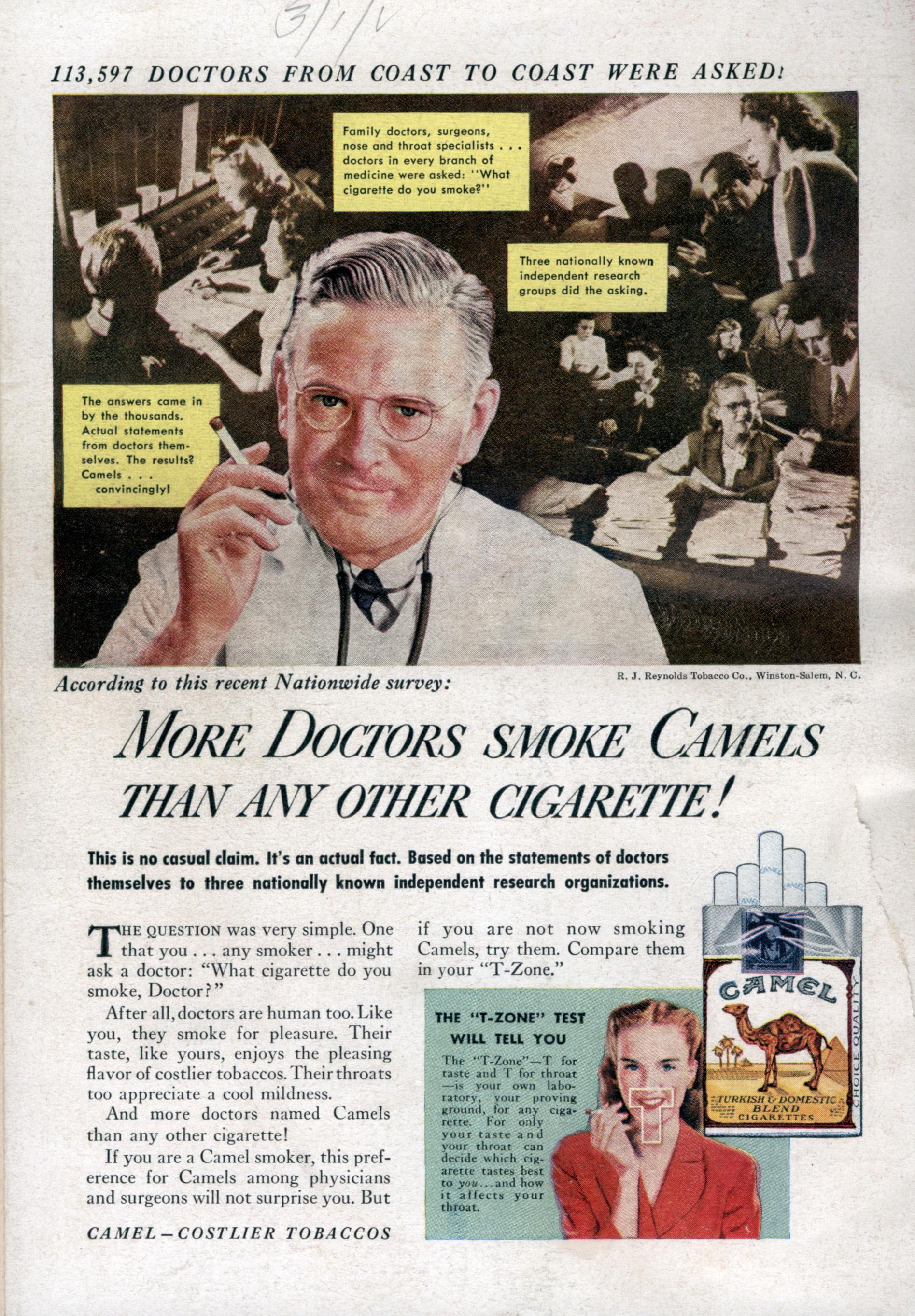 Camel advertising featuring 'expert' endorsement