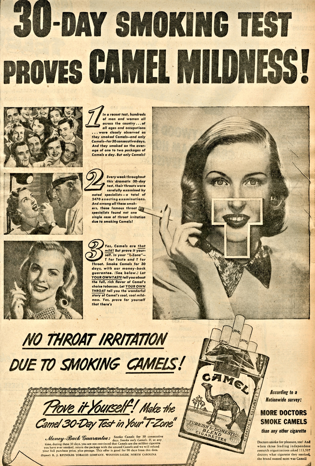 Typical 20th Century trial period smoking advertisement