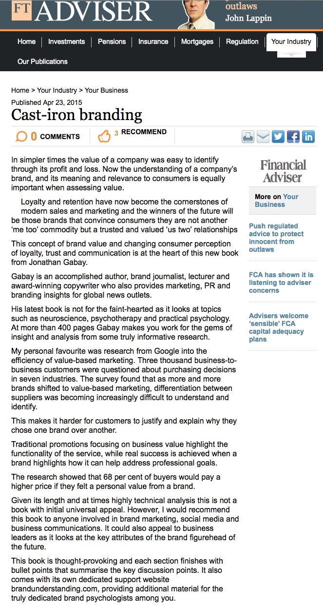 Gabay Financial Times Review Brand Psychology book