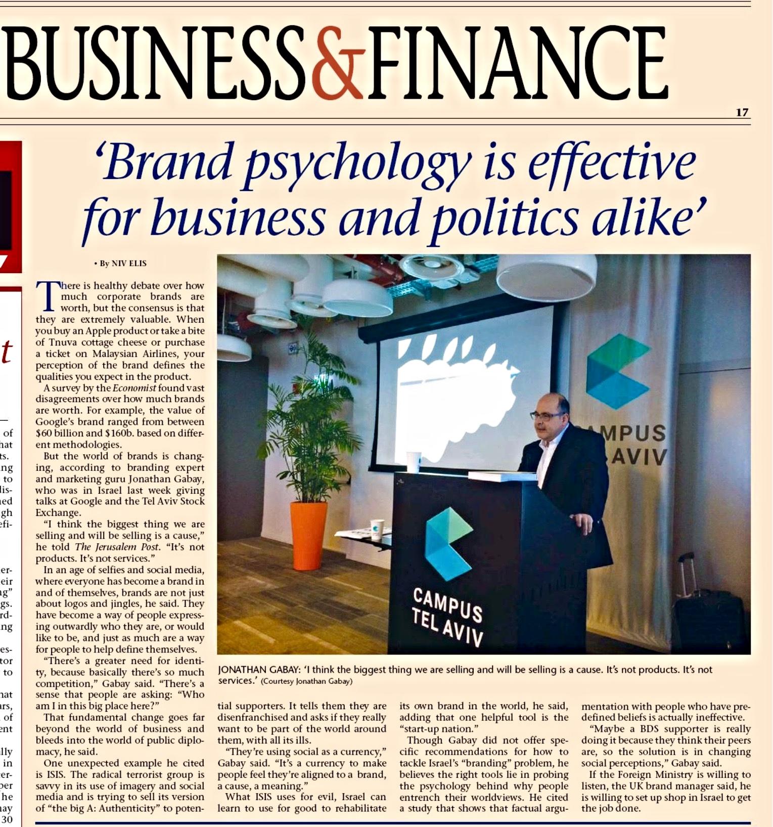 Gabay Jerusalem Post Review Brand Psychology book