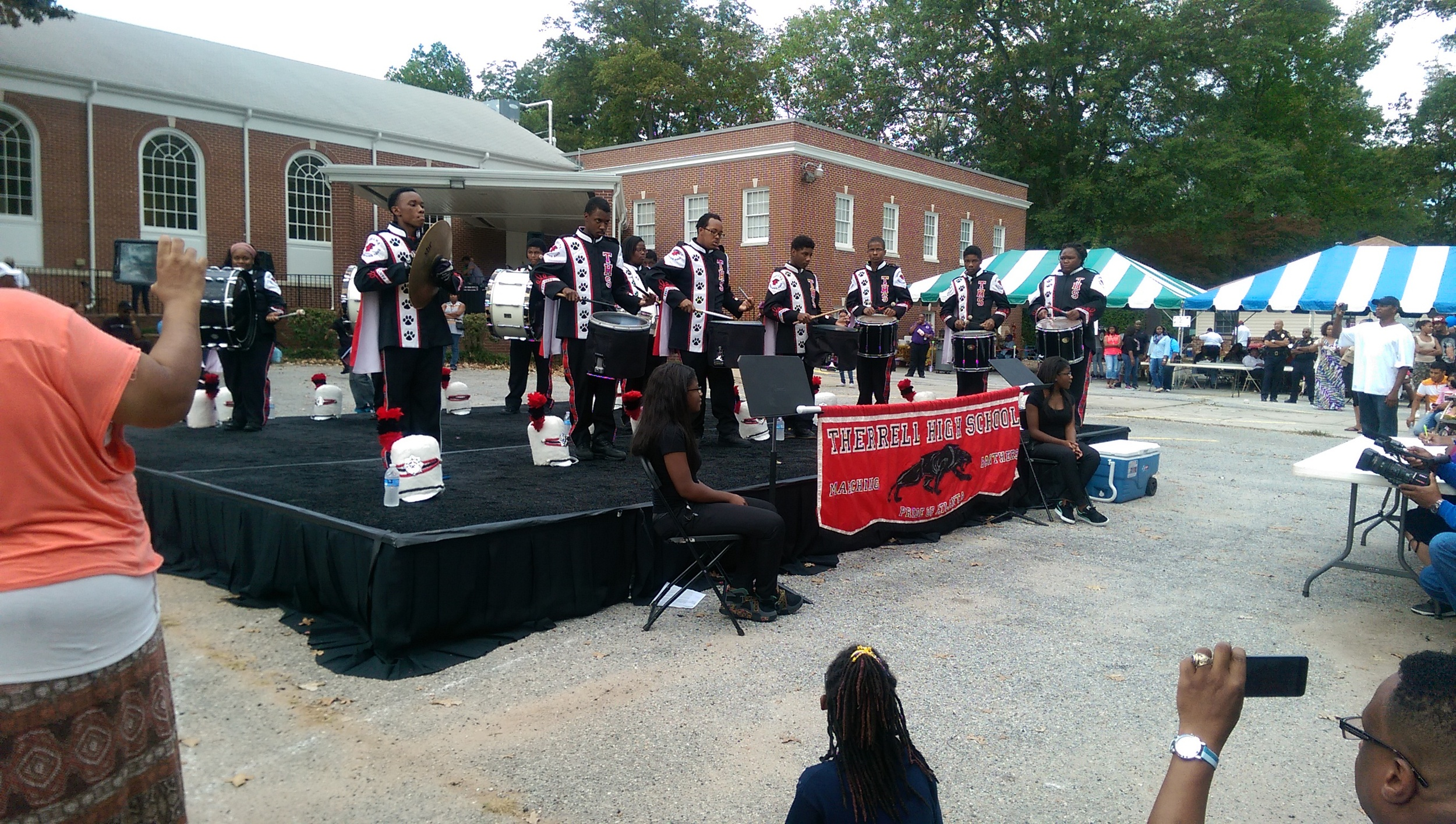 Drum line competitors. Classic in black, red and white.