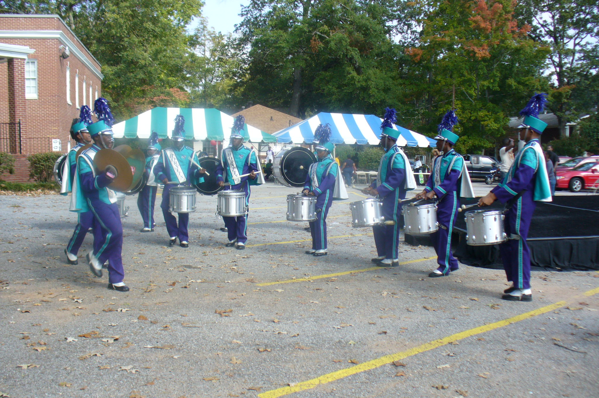Drum line competitors. Looking cool in blue.