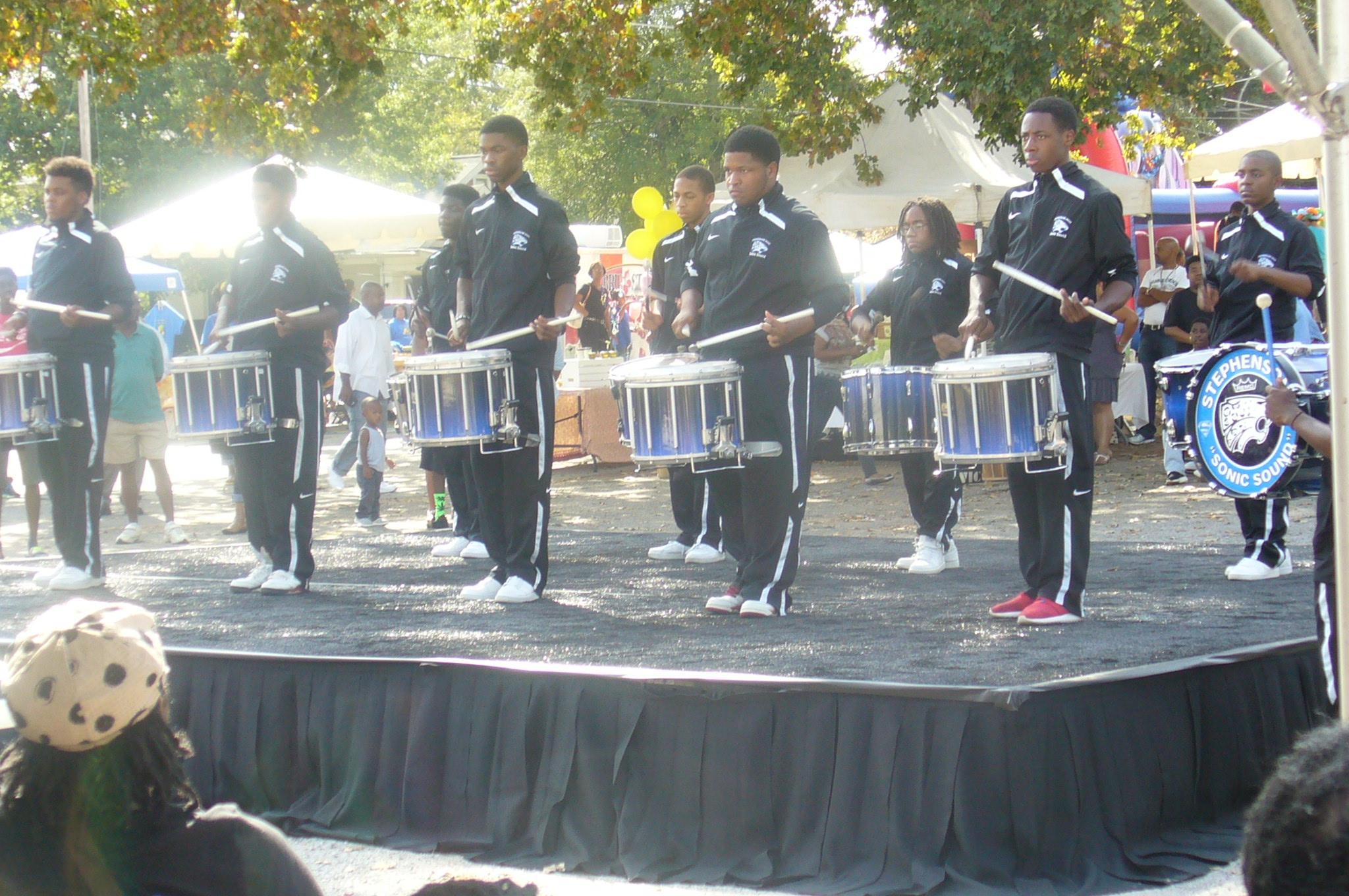 Drum line competitors. Looking smooth in sleek lines.
