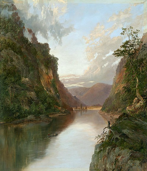 """""""Hawkesbury River with Figures in Boat : On the Nepean"""", oil on canvas, by William Charles Piguenit"""