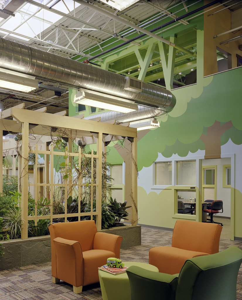 Atrium and tree house meeting space