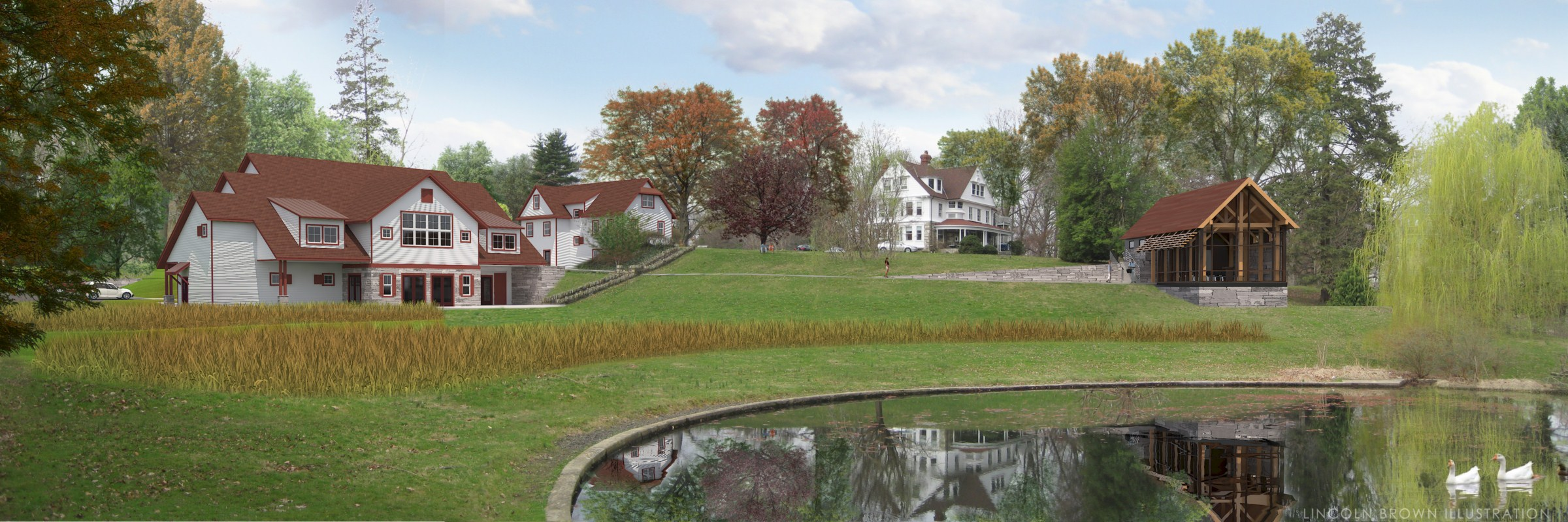 View from Pond - (from left) Conference Center, renovated Administration, existing House, Chapel